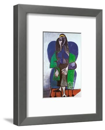Sitting Woman with Green Scarf-Pablo Picasso-Framed Art Print