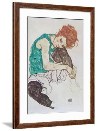 Sitting Woman-Egon Schiele-Framed Art Print