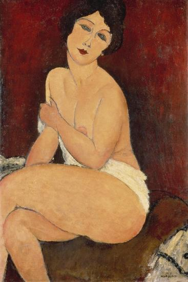 Sitzender Akt auf einem Diwan (oder: La belle Romaine). 1917-Amadeo Modigliani-Giclee Print