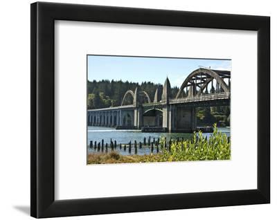 Siuslaw River Bridge, Old Town, Florence, Oregon, USA.-Michel Hersen-Framed Photographic Print