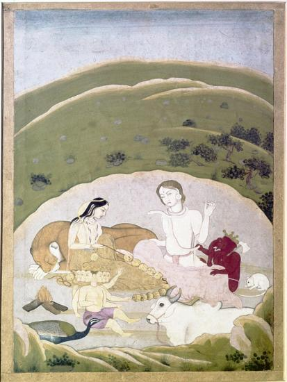 Siva and Parvati with their children, Ganesh and Karttikgya on Mount Kailash, c1745-Unknown-Giclee Print
