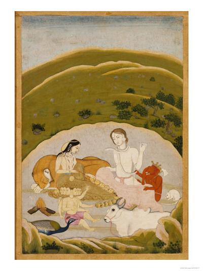 Siva and Parvati with Their Children on Mount Kailasa, India c.1745--Giclee Print