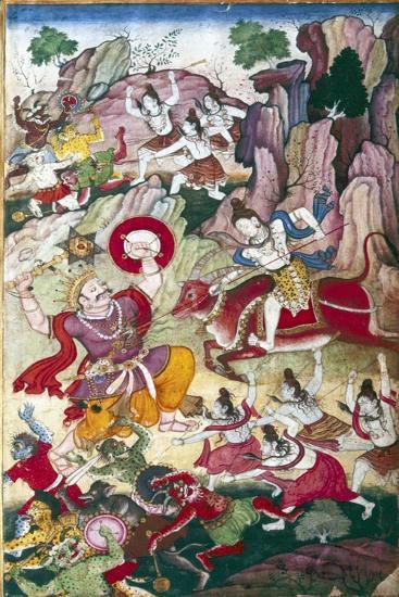 Siva destroys the demon Andhaka, Harivamsa manuscript, Mughul, c1590-Unknown-Giclee Print