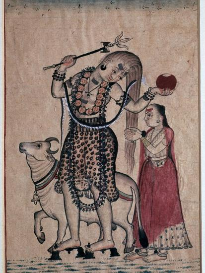 Siva with the bull, Nandi, followed by his consort Parvati, 18th century. Artist: Unknown-Unknown-Giclee Print