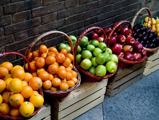 Six Baskets of Assorted Fresh Fruit for Sale at a Siena Market, Tuscany, Italy-Todd Gipstein-Photographic Print