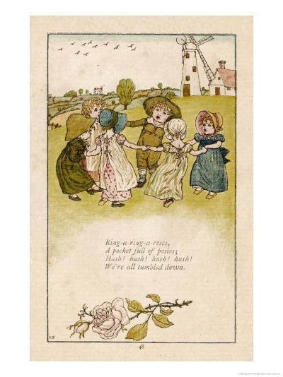 Six Children Dance in a Circle to Play Ring O' Roses-Kate Greenaway-Giclee Print