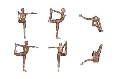 Six Different Views of Dancer Yoga Pose Showing Female Musculature--Art Print