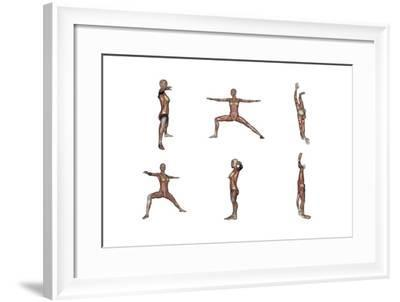 Six Different Views of Warrior Yoga Pose Showing Female Musculature--Framed Art Print