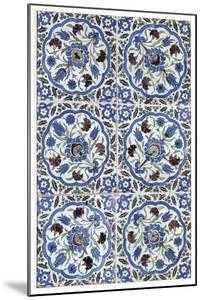 Six Floral Tiles Painted with Tulips, Carnations, And Rosettes, c.1600