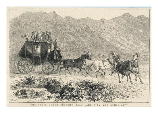 Six Horses Pull the Stage Coach Between Salt Lake City and Ophir City--Giclee Print
