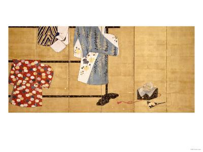 Six-Leaf Screen, Painted in Sumi, Whose Sleeves Motif with Three Robes Hung on a Rack, 18th Century--Giclee Print