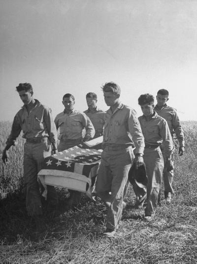 Six Men of US Squadron Carry the Flag Draped Coffin of a Member of their Outfit--Photographic Print