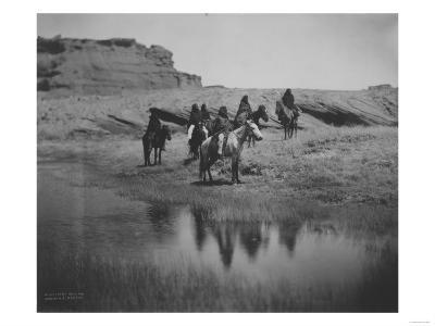 Six Navajo Indians on horseback, at Oasis Curtis Photograph-Lantern Press-Art Print