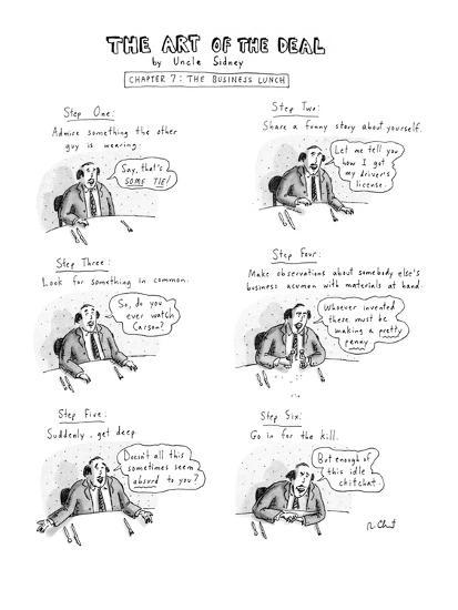 Six panel drawing shows man at business lunch whose six steps include admi? - New Yorker Cartoon-Roz Chast-Premium Giclee Print