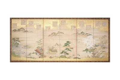 Six Panel Screen with Birds and Flowers of the Twelve Months (Ink, Colour and Gold Leaf on Paper)-Tosa Mitsunari-Giclee Print