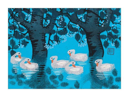 Six Swimming Swans--Giclee Print