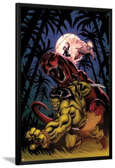 Skaar: King of The Savagle Land No.2 Cover: Skaar, Devil Dinosaur, Moon Boy, and Ka-Zar-Ed McGuinness-Lamina Framed Poster