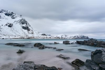 Skagsanden Beach in the Lofoten Islands, Norway in the Winter on a Cloudy Day-Felix Lipov-Photographic Print