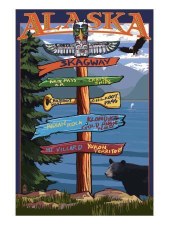 Skagway, Alaska - Destination Sign-Lantern Press-Art Print