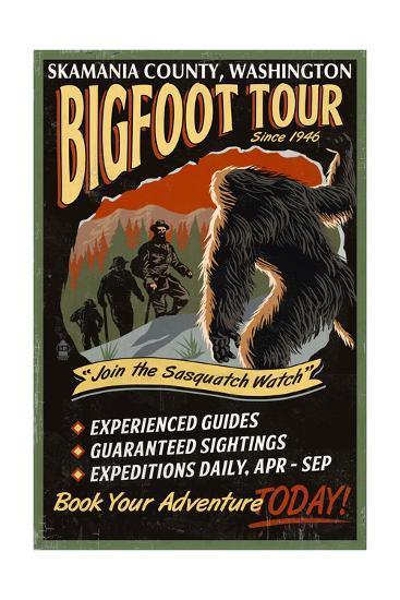 Skamania County, Washington - Bigfoot Tours - Vintage Sign-Lantern Press-Art Print