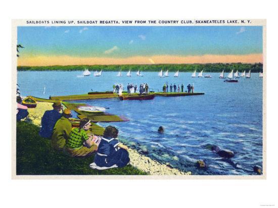 Skaneateles, New York - Country Club View of Sailboat Regatta No. 2-Lantern Press-Art Print