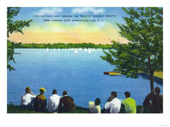 Skaneateles, New York - Country Club View of Sailboat Regatta on Lake-Lantern Press-Art Print