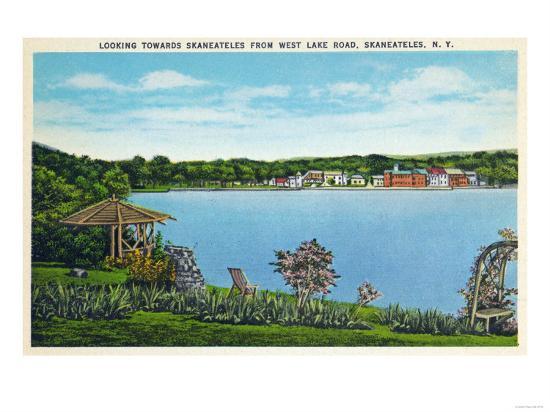 Skaneateles, New York - View of Town from West Lake Road-Lantern Press-Art Print