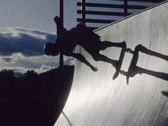 Skateboarder in Action on the Vert--Photographic Print