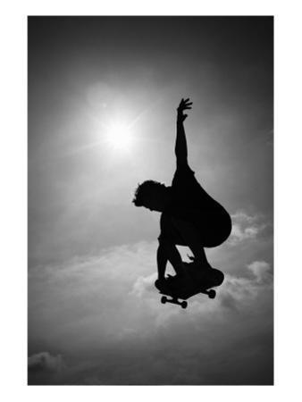 Skateboarder in Black and White