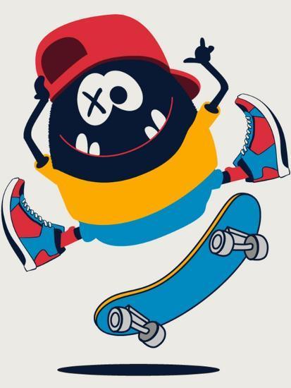 Skater Monster Vector Design- braingraph-Art Print