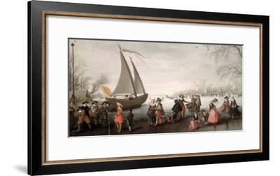 Skaters and a Golf Party on the Ice-David Vinckboons-Framed Giclee Print