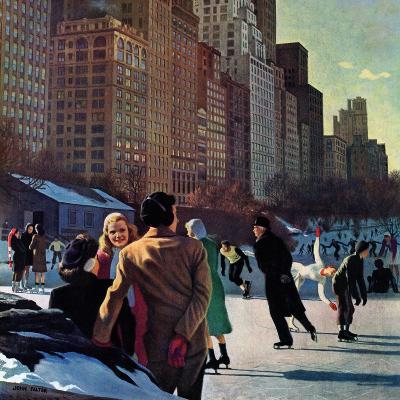 """""""Skaters in Central Park,"""" February 7, 1948-John Falter-Giclee Print"""