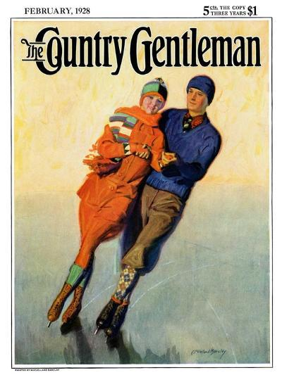 """""""Skating Couple,"""" Country Gentleman Cover, February 1, 1928-McClelland Barclay-Giclee Print"""