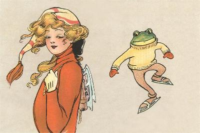 Skating Frog and Vamp--Art Print