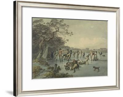 Skating in Hyde Park, C.1785-Julius Caesar Ibbetson-Framed Giclee Print