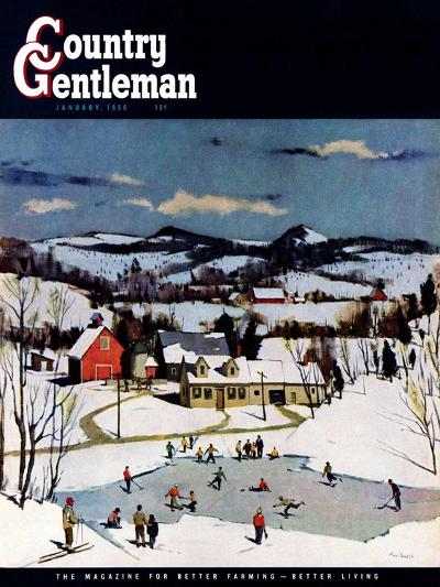 """Skating on Farm Pond,"" Country Gentleman Cover, January 1, 1950-Paul Sample-Giclee Print"