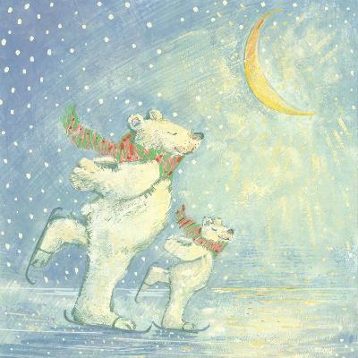 Skating Polar Bears-David Cooke-Giclee Print
