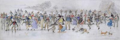 Skating Scene (Pen and Ink and W/C on Paper)-Charles Altamont Doyle-Giclee Print