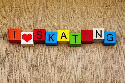 Skating - Sign for Ice and Roller Skating and Skateboarding-EdSamuel-Photographic Print