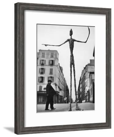 Skeletal Giacometti Sculpture on Parisian Street-Gordon Parks-Framed Premium Photographic Print