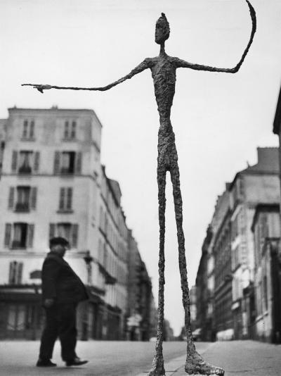 Skeletal Giacometti Sculpture on Parisian Street-Gordon Parks-Photographic Print