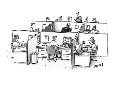 Skeleton is trapped in the center, doorless square amid nine office cubicl? - New Yorker Cartoon-Tom Cheney-Premium Giclee Print