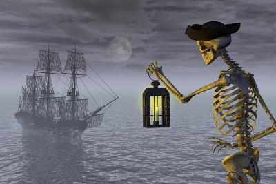 Skeleton Pirate With Ghost Ship-AlienCat-Art Print
