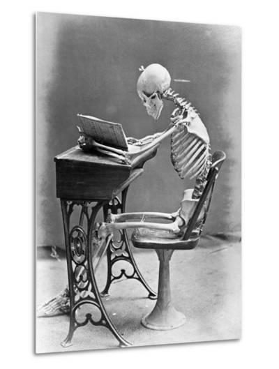 Skeleton Reading at Desk-Bettmann-Metal Print