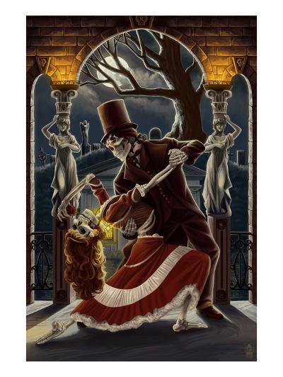 Skeletons Dancing in Graveyard-Lantern Press-Art Print