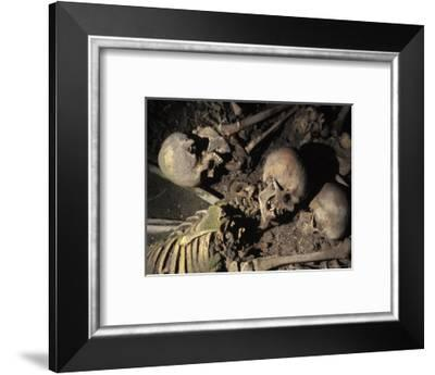 Skeletons of Escaping People Found in the Arcades of Old Harbour in Herculanium, Italy-Richard Nowitz-Framed Photographic Print