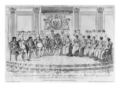 Sketch Depicting Napoleon I and the Sovereigns at Ball Given by City of Paris on 4th December 1809-Adrien Pierre Francois Godefroy-Giclee Print