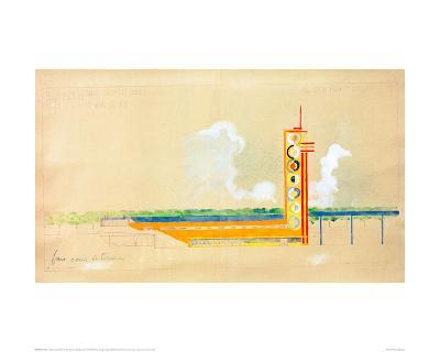 Sketch for the Exterior Design of the Train Pavillion, 1937-Robert Delaunay-Giclee Print