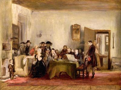 Sketch for 'The Reading of a Will', C.1820 (Oil on Board)-Sir David Wilkie-Giclee Print