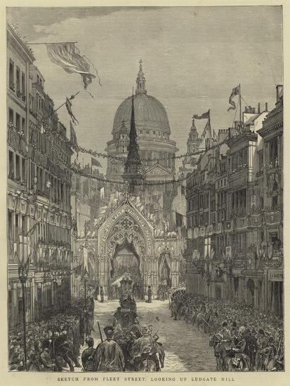 Sketch from Fleet Street, Looking Up Ludgate Hill--Giclee Print